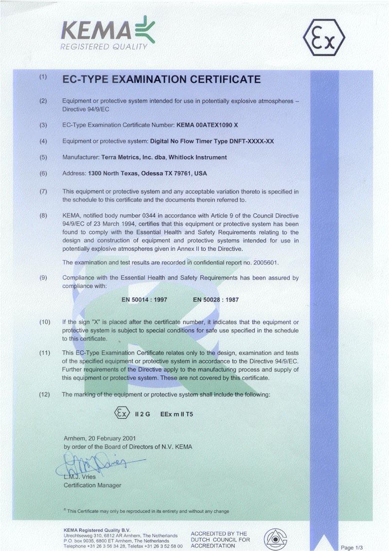 Whitlock Instrument - EC Type Certificate.
