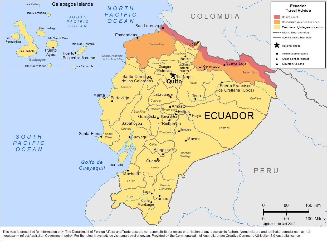 Map of Ecuador.