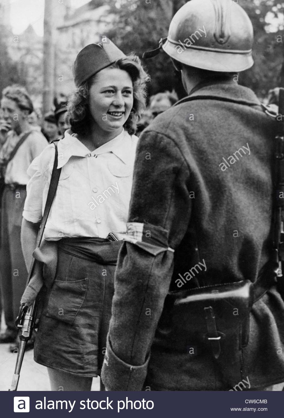 Chica francesa de F.F.I. en Chartres, agosto de 1944