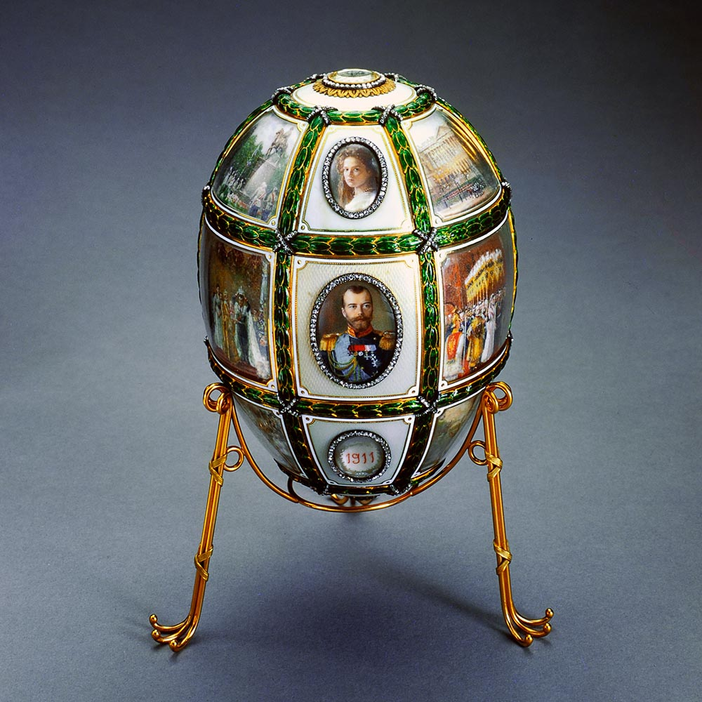 Fabergé Imperial Egg with images of the Russian Imperial Family Members.
