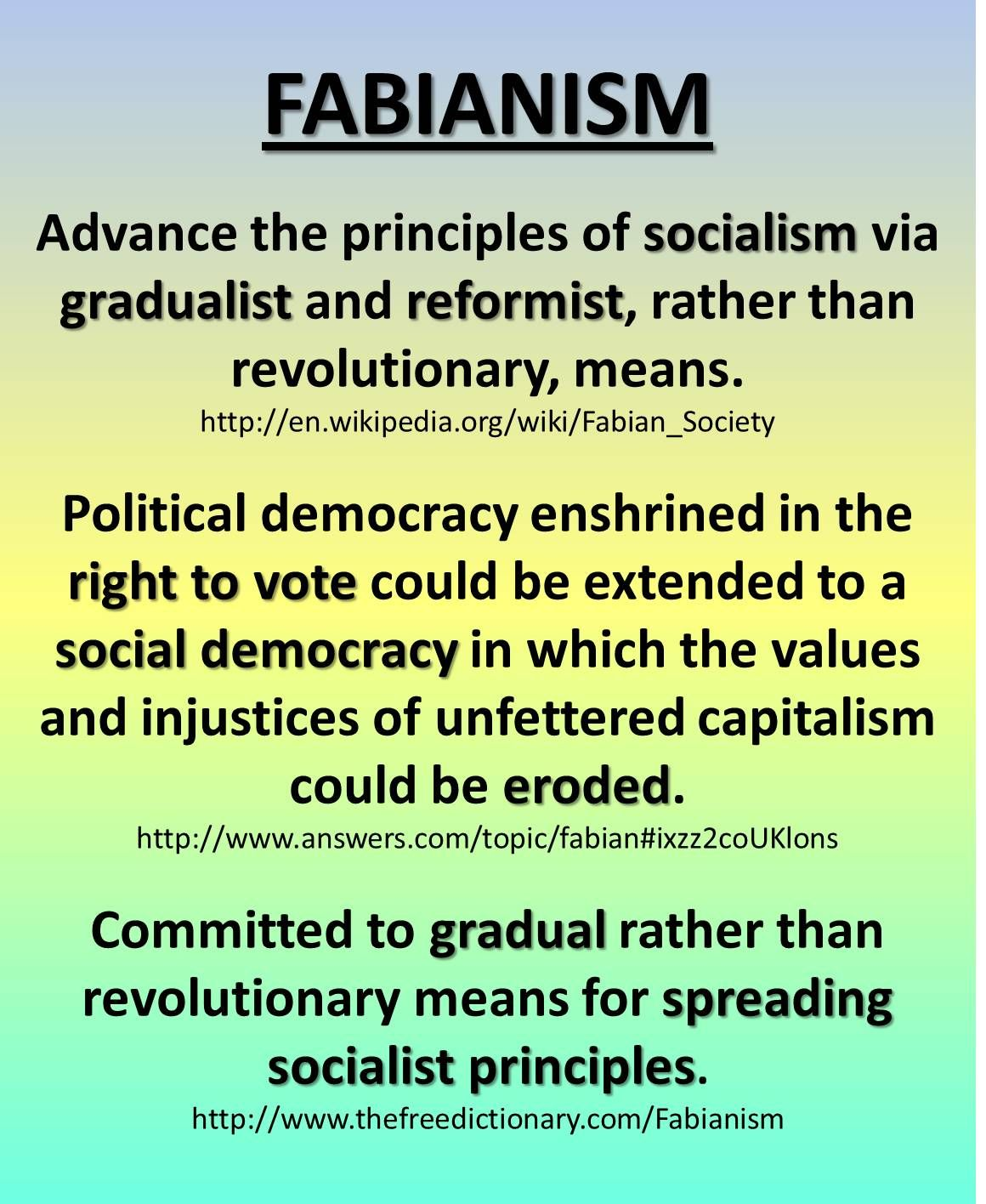 FABIANISM - Socialism via gradual reformation vs. revolutionary - shrouded  in the right to vote - eroding capitalism - creating the welfare state so  the