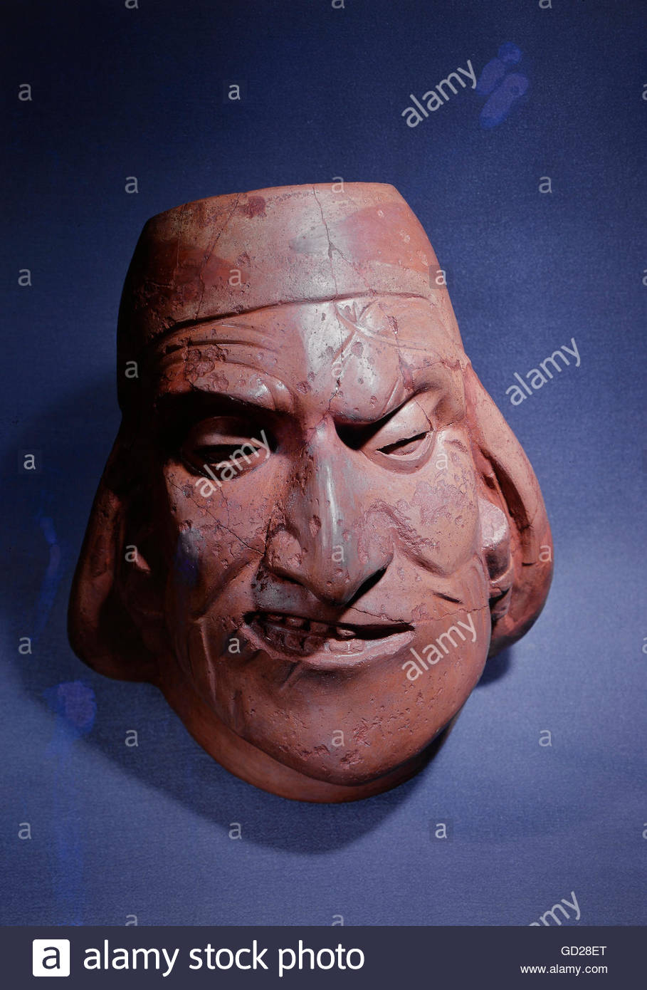 Bellas artes, Perú, cerámica, loza, buque, hombre con parálisis facial  parcial