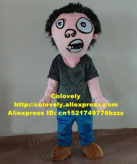 Vivid Clown Zombie Kyonshii Facioplegia Prosopoplegia Facial Paralysis  Mascot Costume Blackish Green Shirt Blue Pants No