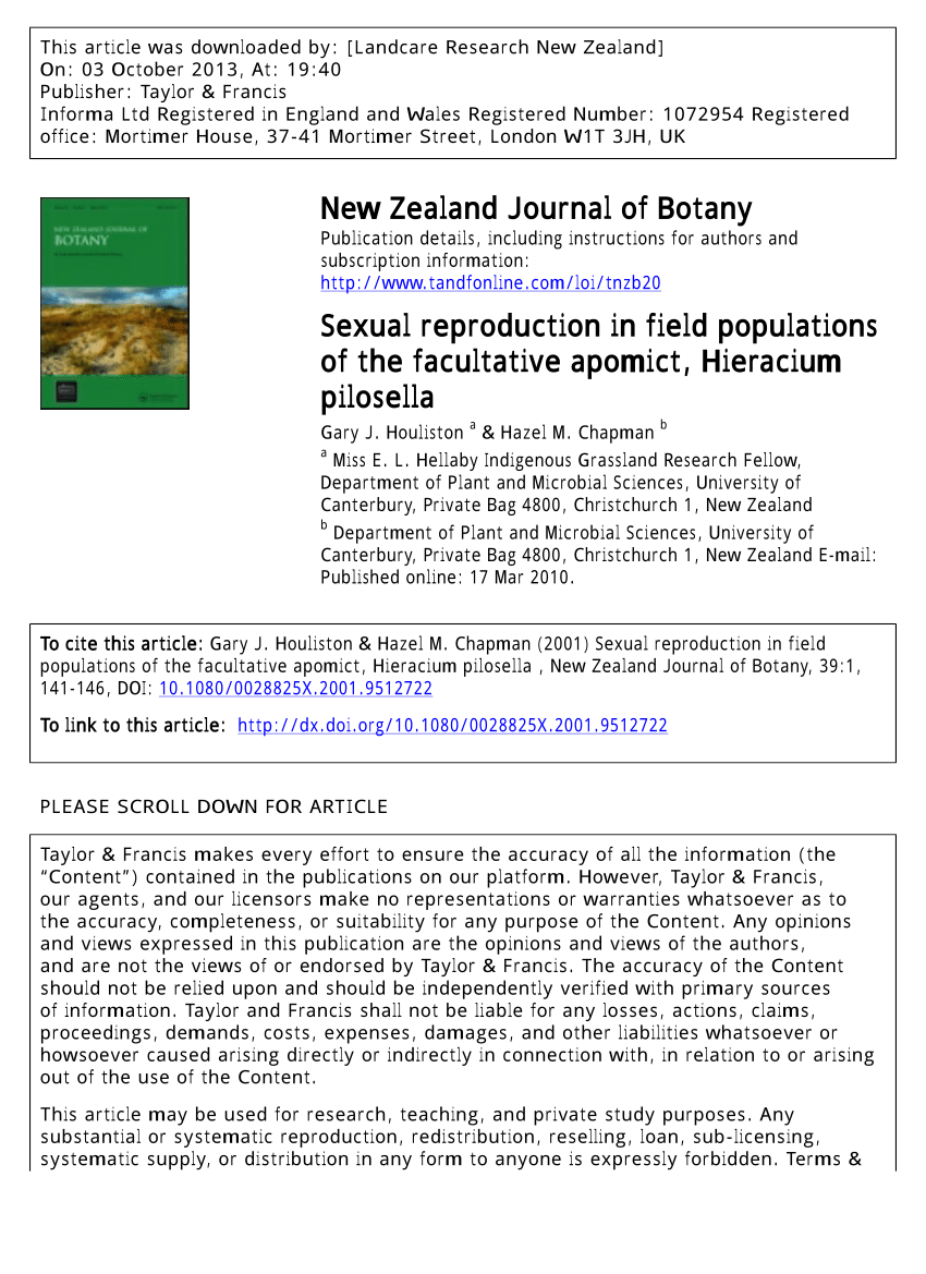 (PDF) Sexual reproduction in field populations of the facultative apomict,  Hieracium pilosella