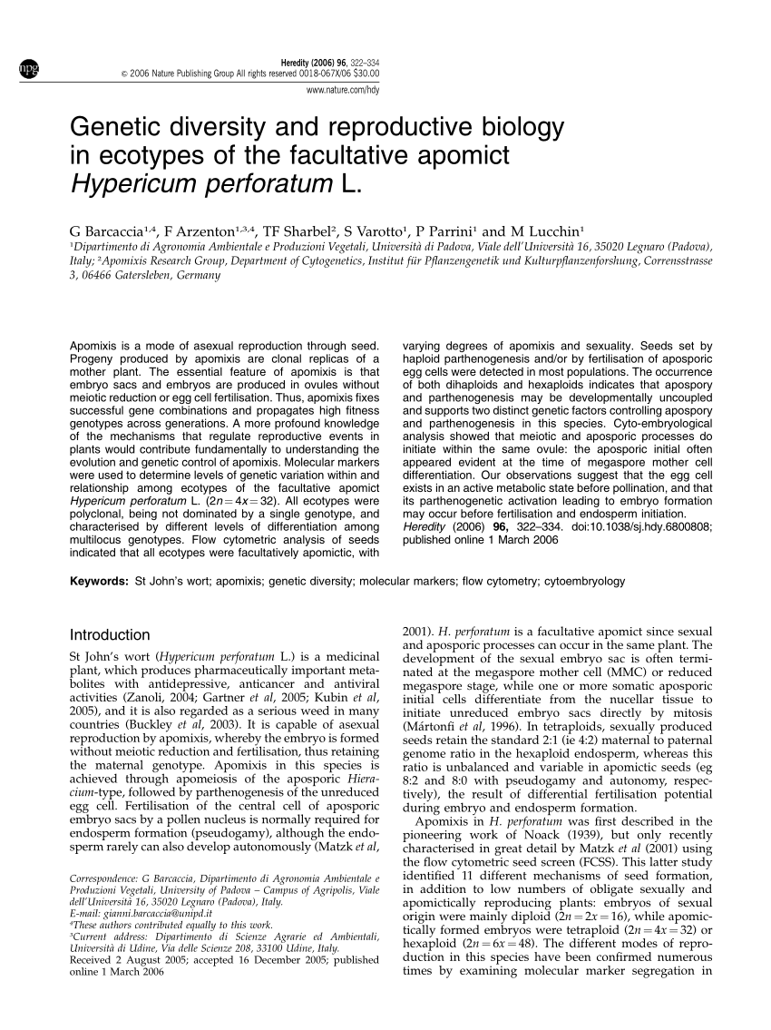 (PDF) Genetic diversity and reproductive biology in ecotypes of the facultative  apomict Hypericum perforatum L