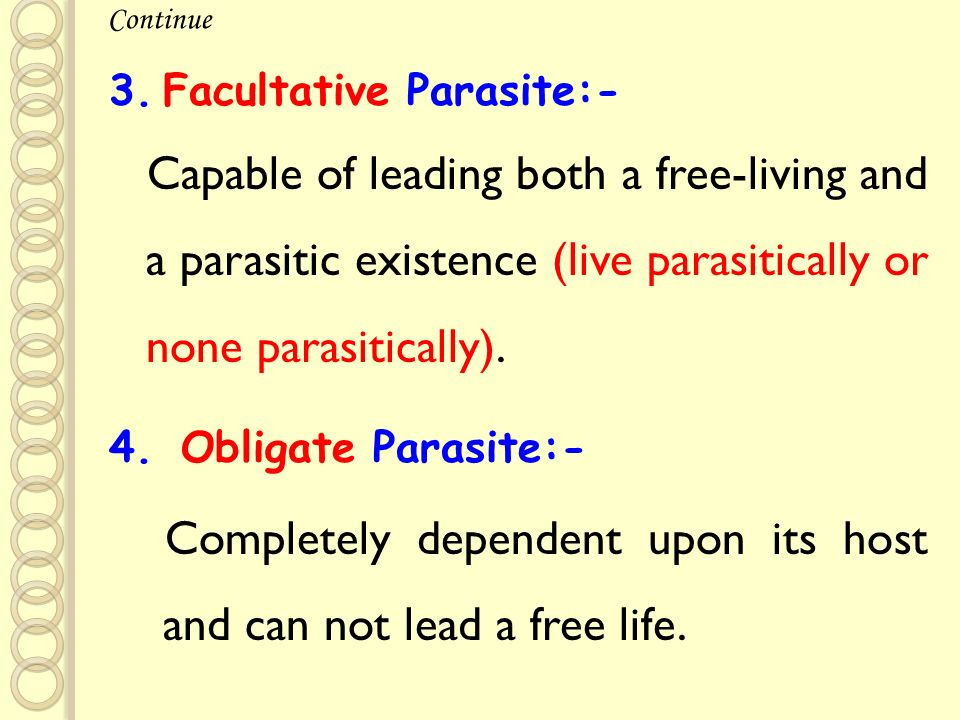 12 Facultative Parasite:-