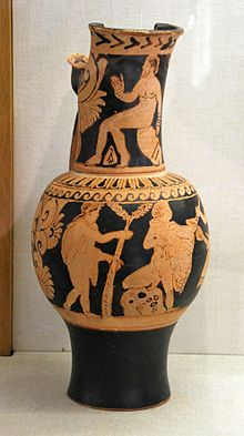 Faliscan red-figure flagon, attributed to the Fluid group c. 350/25 BC; now  Antikensammlung Würzburg, inventory number L 813