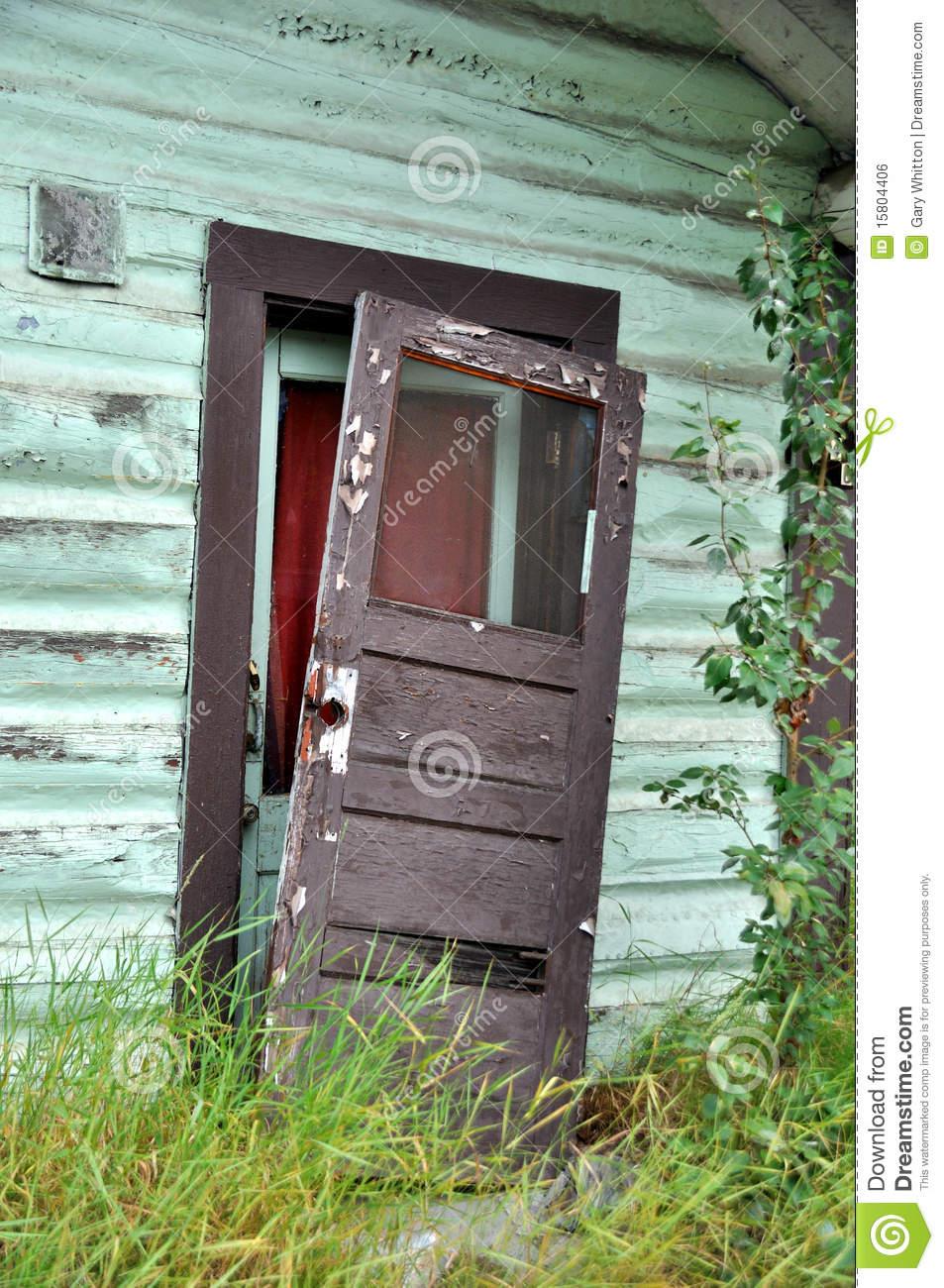 Old Door Falling of Hinges of Historic Alaska Cabin