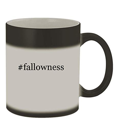 #fallowness - 11oz Color Changing Hashtag Sturdy Ceramic Coffee Cup Mug,  Matte Black