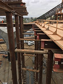 Sixth Street Viaduct Falsework - Bent 11 Jump Span. Shown in the background  is a concrete Y-Arm.