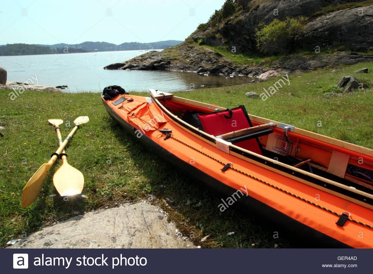 Sea kayak (faltboat) on a beach in Scandinavia