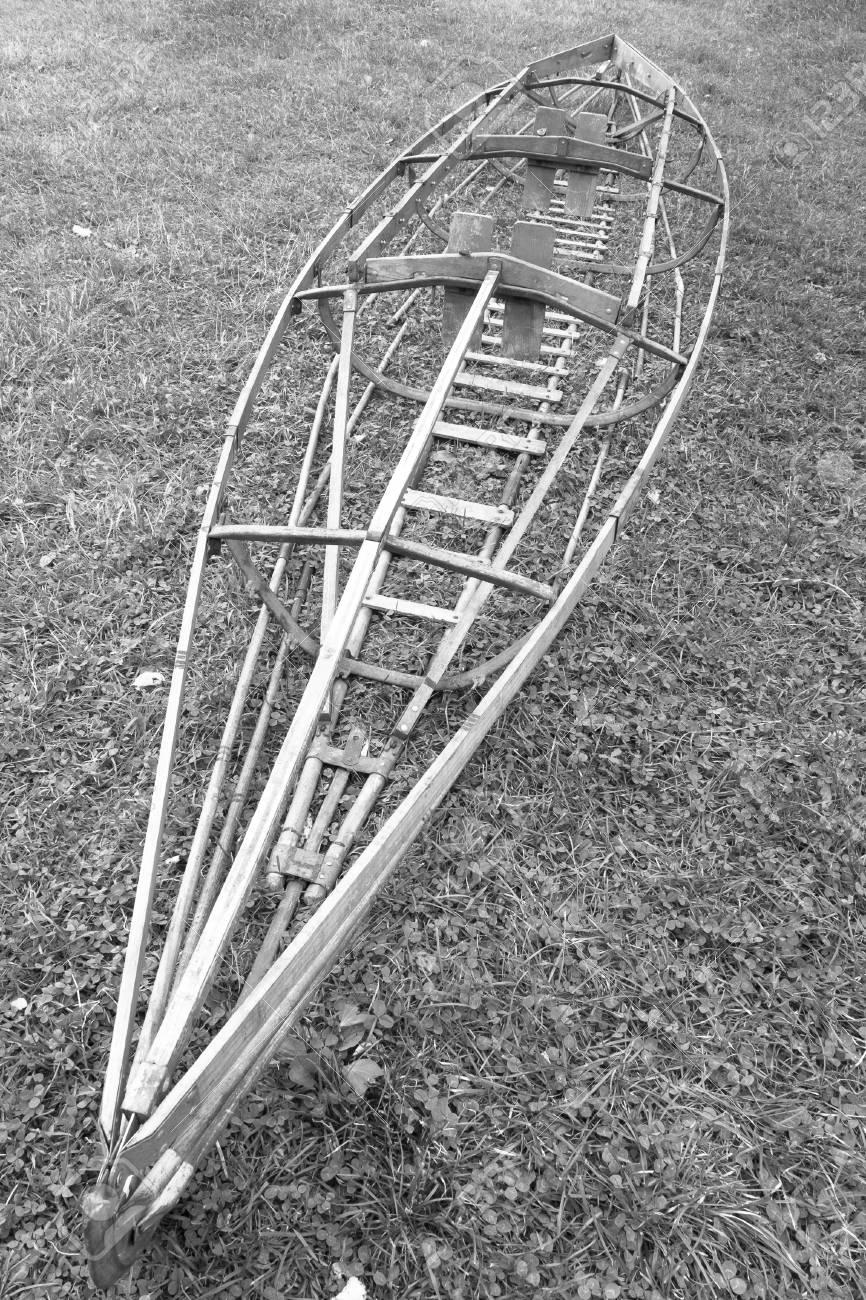 old faltboat - foldboat - collapsible boat - folding boat Stock Photo -  73711801