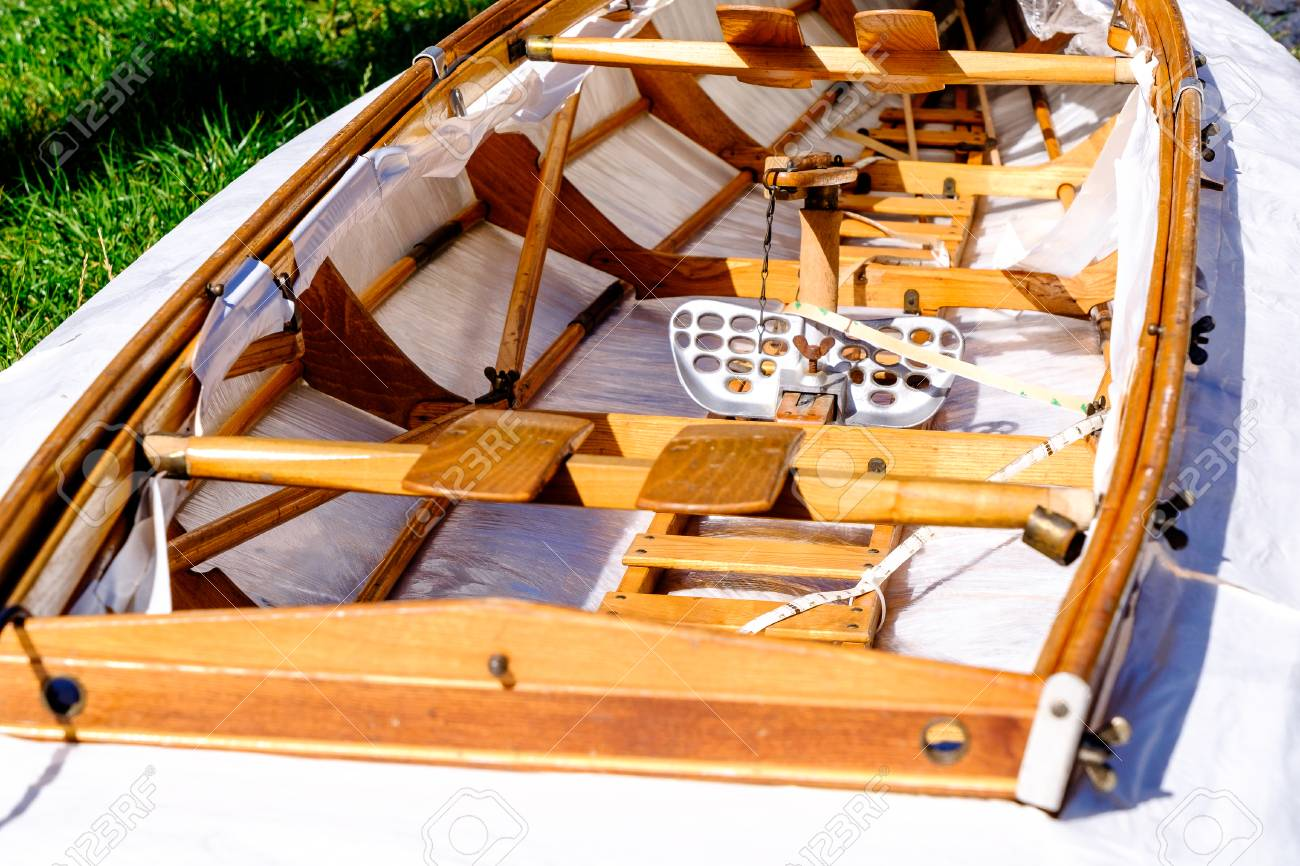 old faltboat - foldboat - collapsible boat - folding boat Stock Photo -  79007461