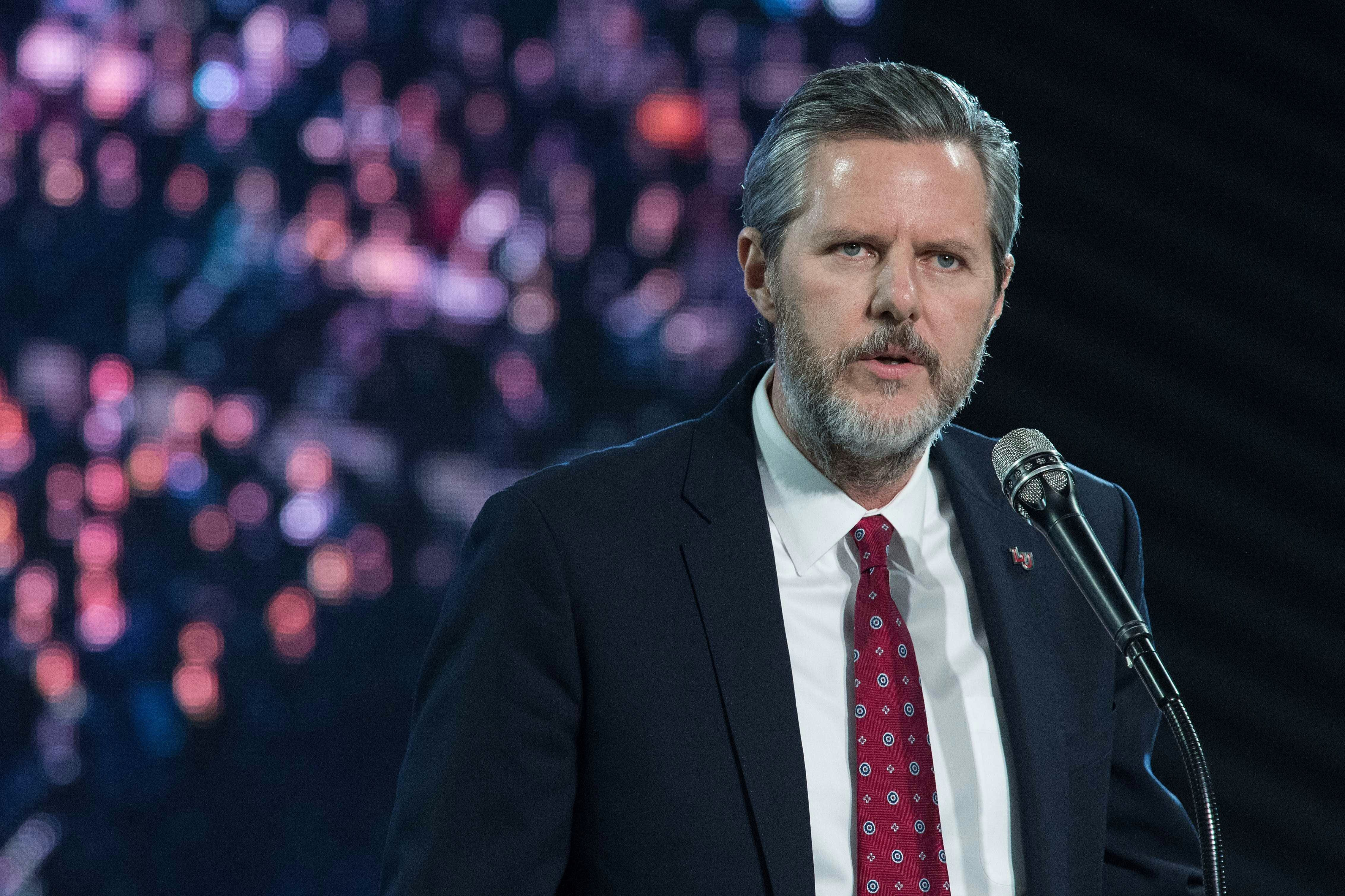 Liberty University president Jerry Falwell Jr. introduces U.S. Republican  presidential candidate Donald Trump at a
