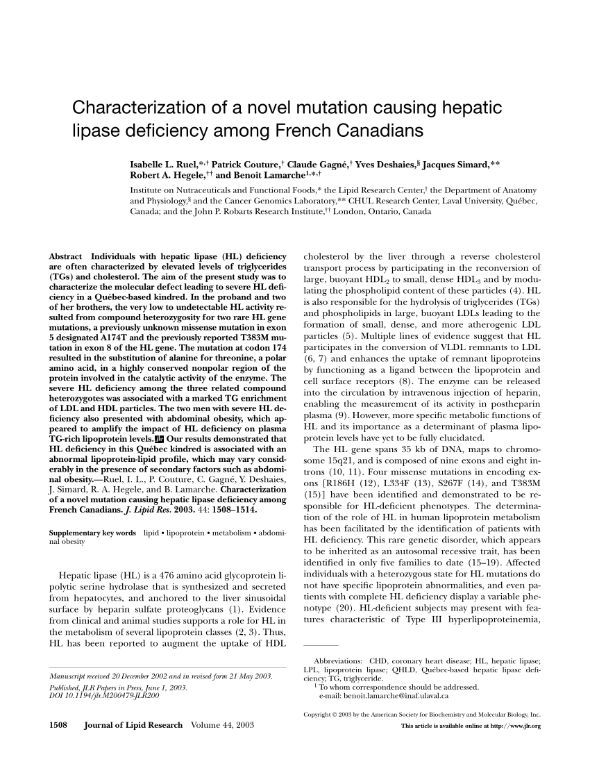 (PDF) Characterization of a novel mutation causing hepatic lipase  deficiency among French Canadians