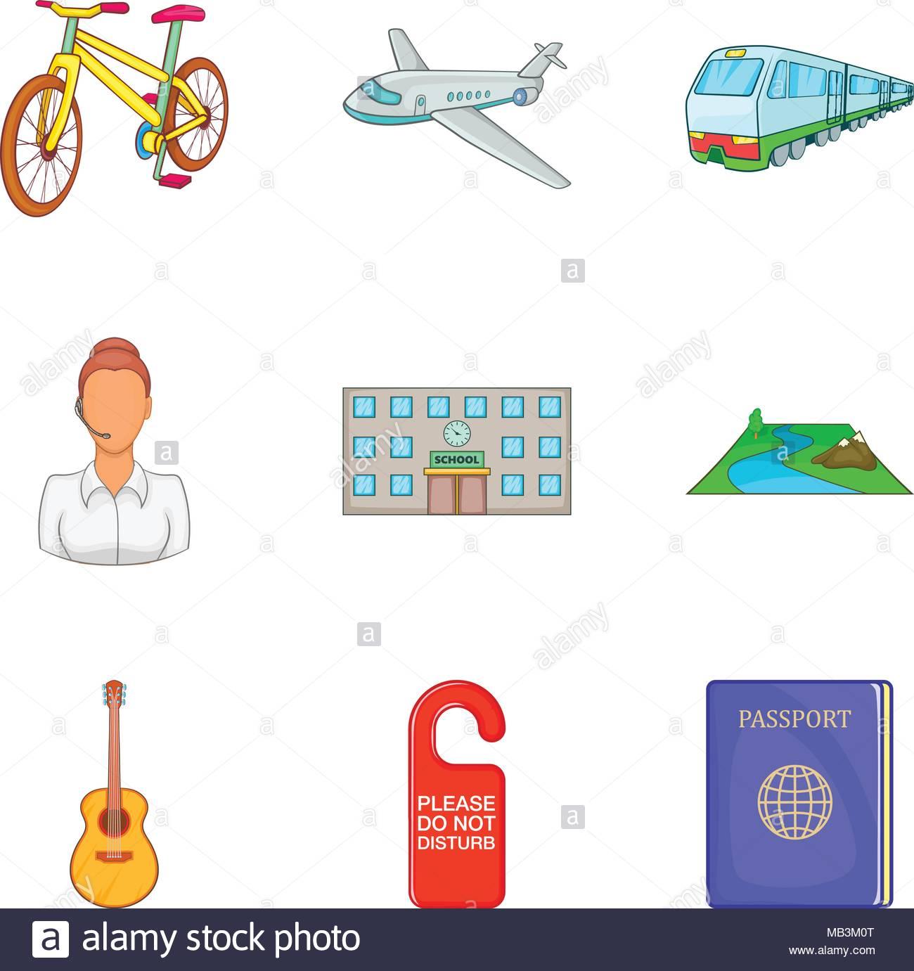 Familiarization icons set, cartoon style - Stock Vector