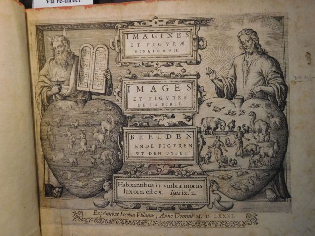 In 1584 a series of Biblical images by Pieter van der Borcht were published  with trilingual (Dutch, French and Latin) commentaries written by Van  Barrefelt