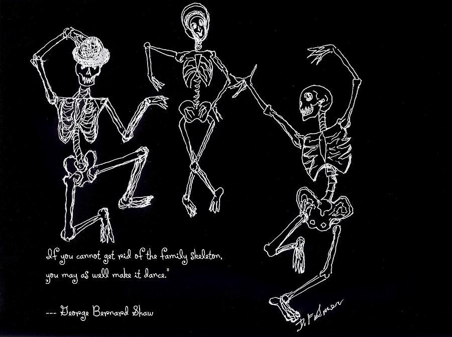 Skeletons Drawing - Family Skeleton by Denise Fulmer