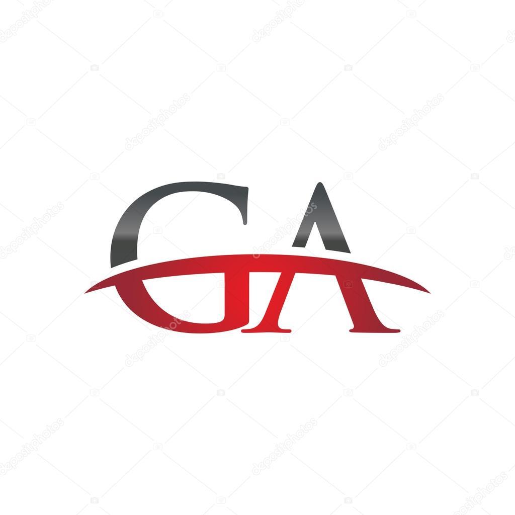 Letra inicial rojo Ga swoosh logo swoosh logo — Archivo Imágenes Vectoriales