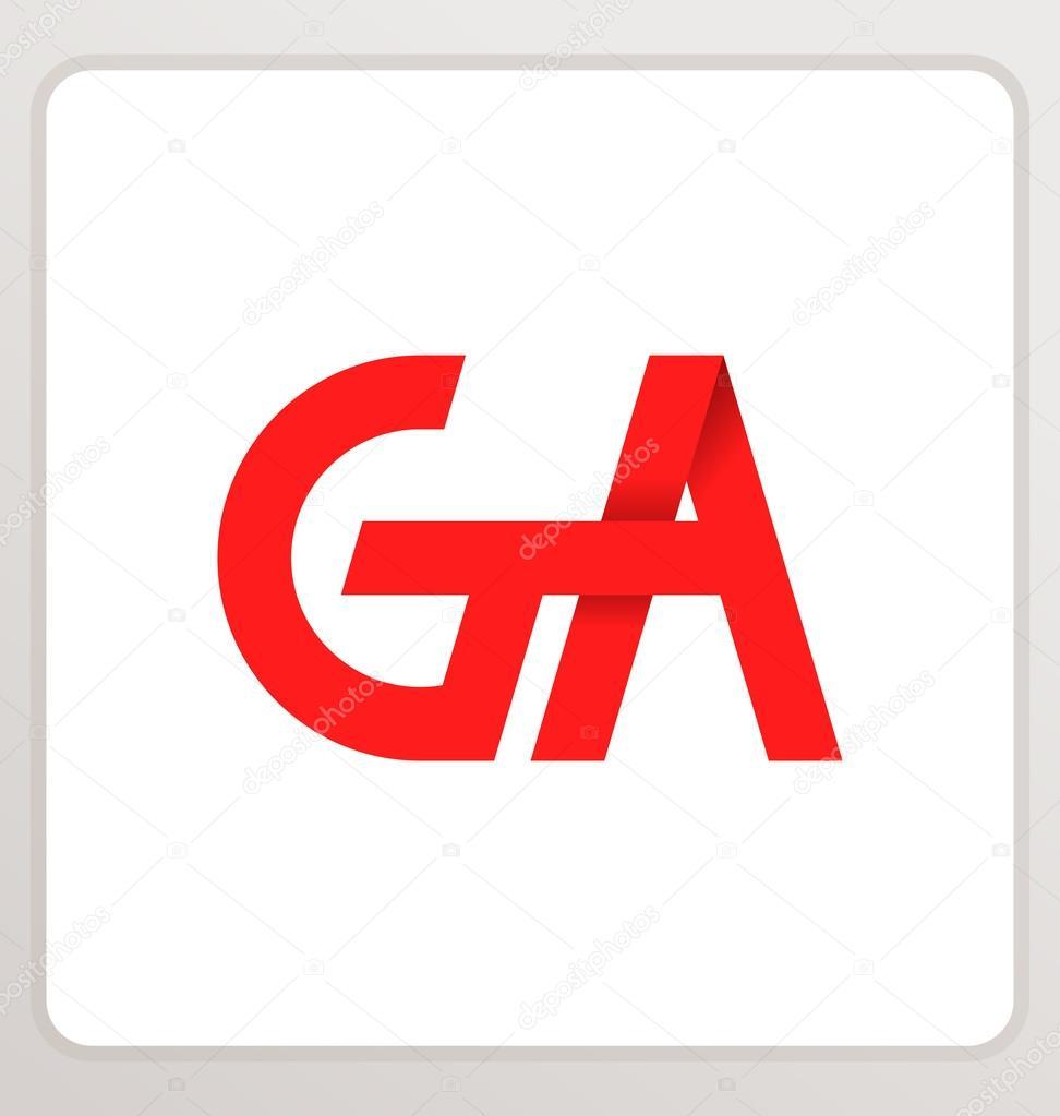 Composición de letra minimalista y moderno Ga dos iniciales, logo o firma -  imágenes: con ga — Vector de rijal — Vector de rijal