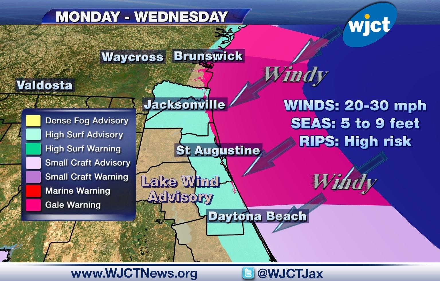 Gale Warning Issued For First Coast Through Tuesday Afternoon