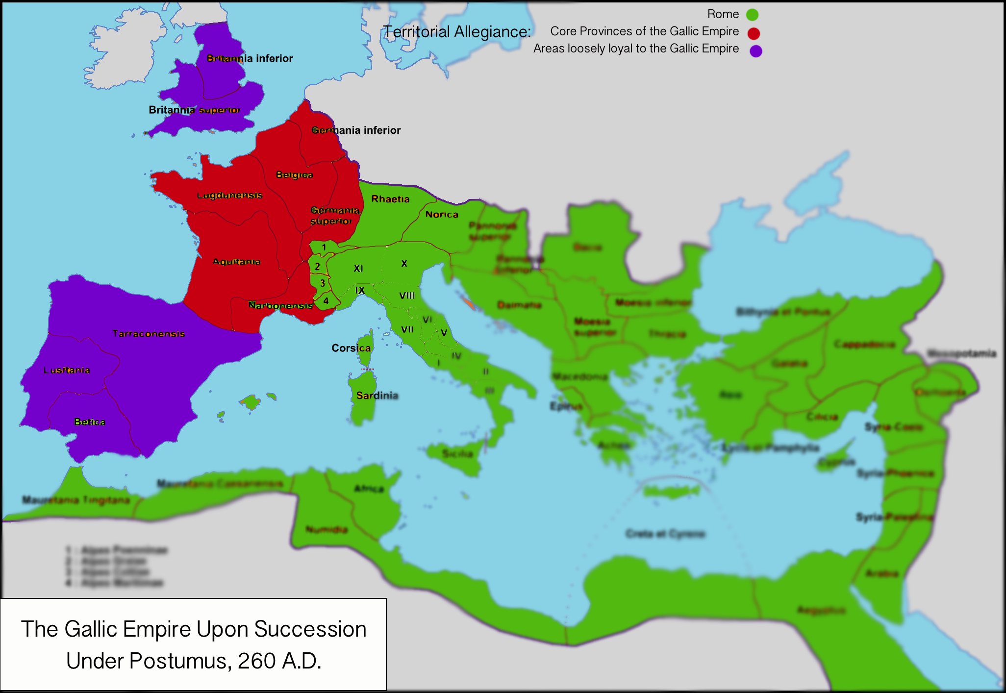 The Gallic Empire at its greatest territorial extent, after its creation by  Postumus in 260.