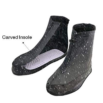 ARUNNERS Black Rain Shoes Covers Boots Overshoes Galoshes for Men(XL)