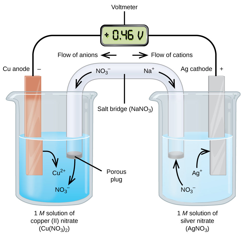 This figure contains a diagram of an electrochemical cell. Two beakers are  shown. Each