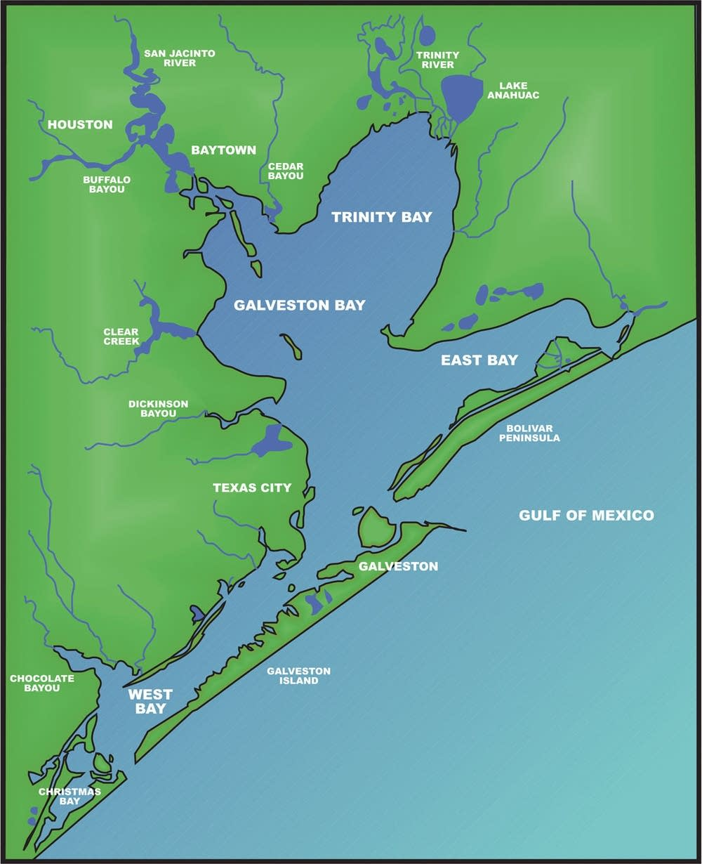 Map of Galveston Bay. Image available on the Internet and