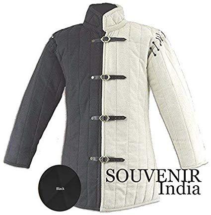 Souvenir India Medieval Thick Padded Gambeson Coat Aketon Jacket Armor,  Black - 3X-Large