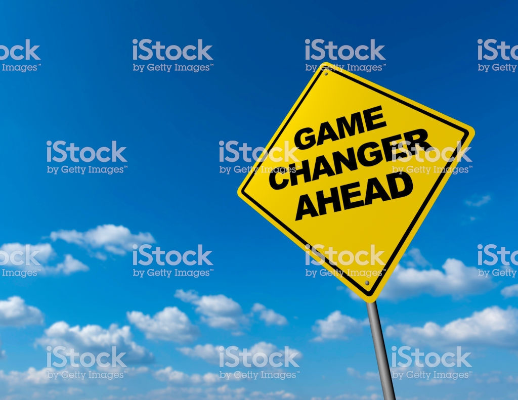 Game Changer Ahead - Road Warning Sign stock photo