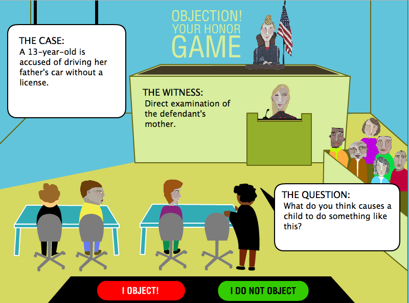 Game Design - Legal Games - Texas LEgal Education - Evidence game Objection  your honor Screen