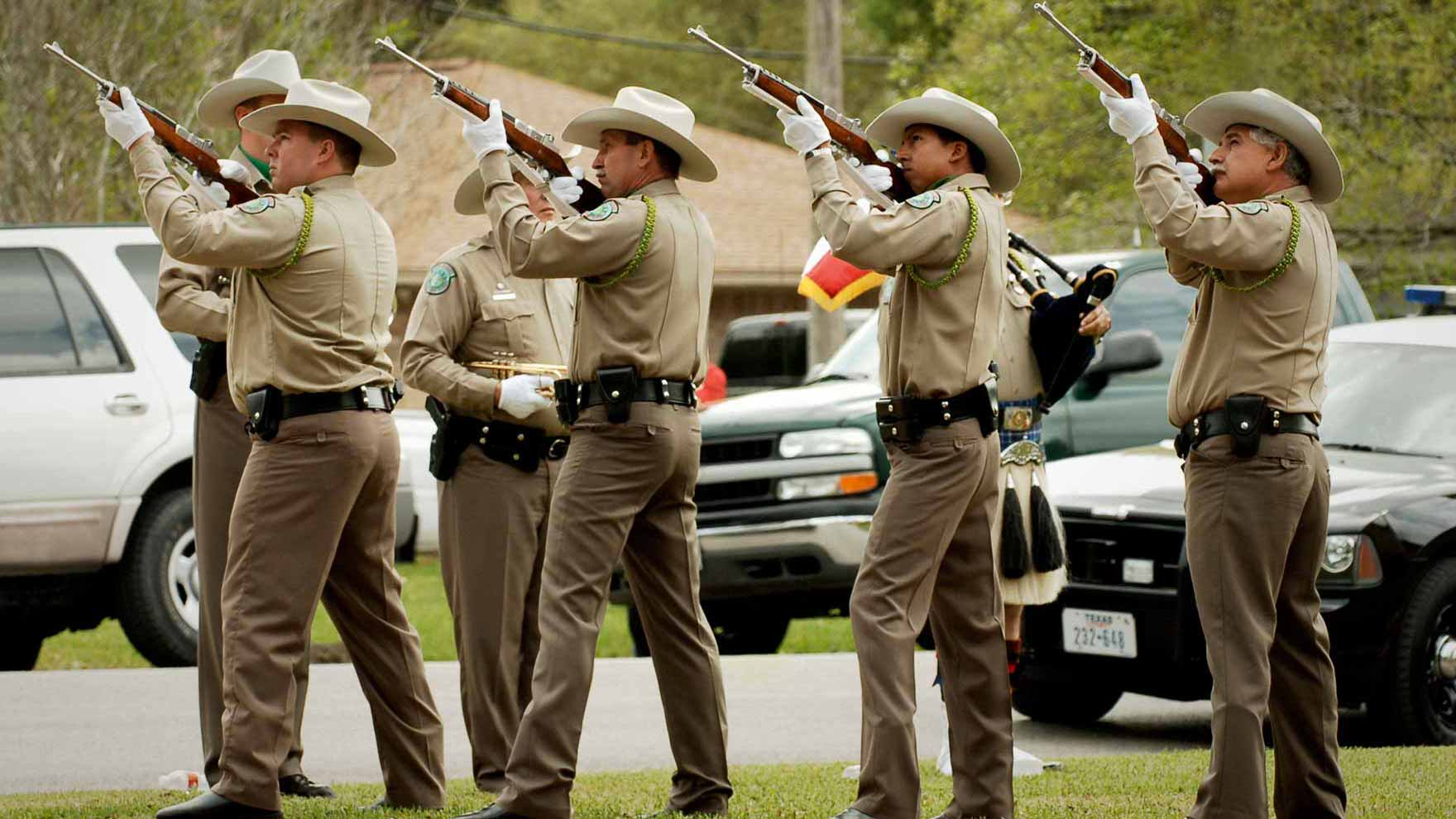 Game Warden Honor Guard at a funeral in East Texas