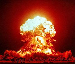 Gamma rays are emitted during nuclear fission in nuclear explosions.