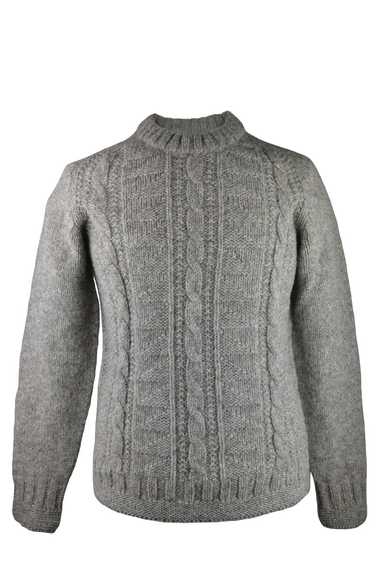 Mens natural wool gansey jumper - front