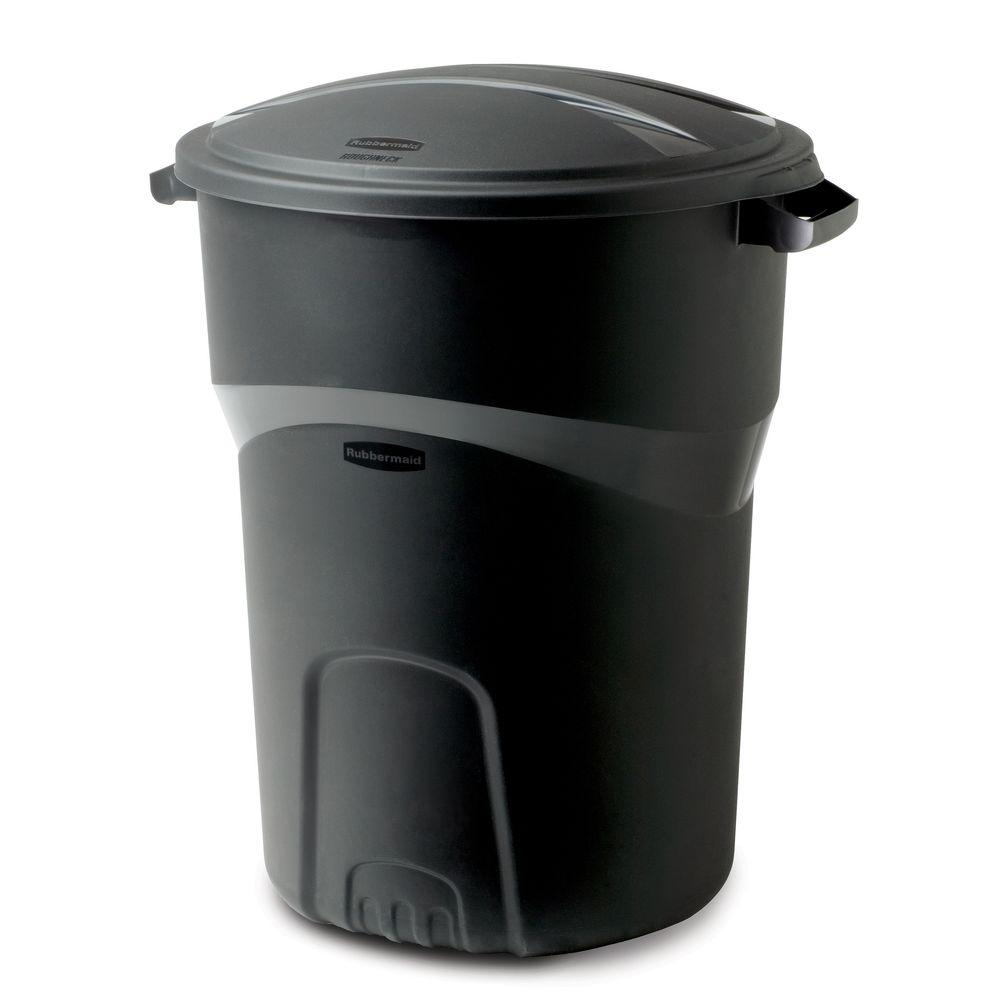 Black Round Trash Can with Lid