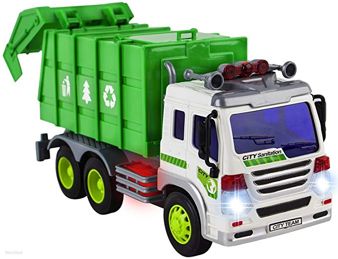 WolVol Friction Powered Garbage Truck Toy With Lights and Sounds For Kids  (Can Open Back