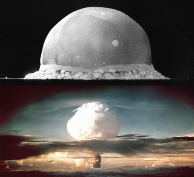 An atomic bomb (top) and a hydrogen bomb (bottom). (Photos: Los Alamos  National Laboratory)