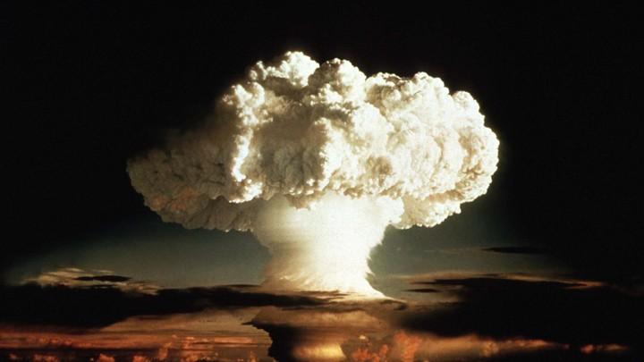 A mushroom cloud over the Pacific Ocean A hydrogen bomb