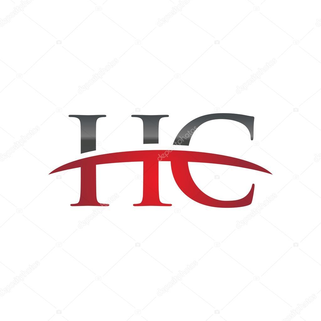 Letra inicial Hc rojo swoosh logo swoosh logo — Vector de stock