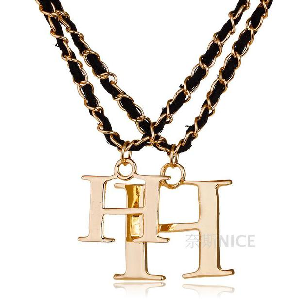 hion explosion major suit letter double H sweater chain number 7 long  necklace female all-