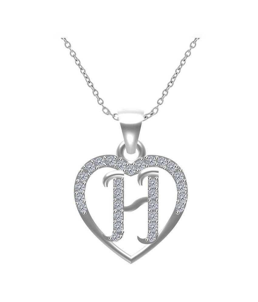 Twisha Silver Plated H Alphabet Pendant With Chain