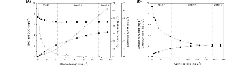 Evolution of BAC (h), DOC (j), consumed (d) and dissolved ozone (s)  cationic surfactants (N) and carboxylic acids (sum of oxalic, acetic and  formic acids,