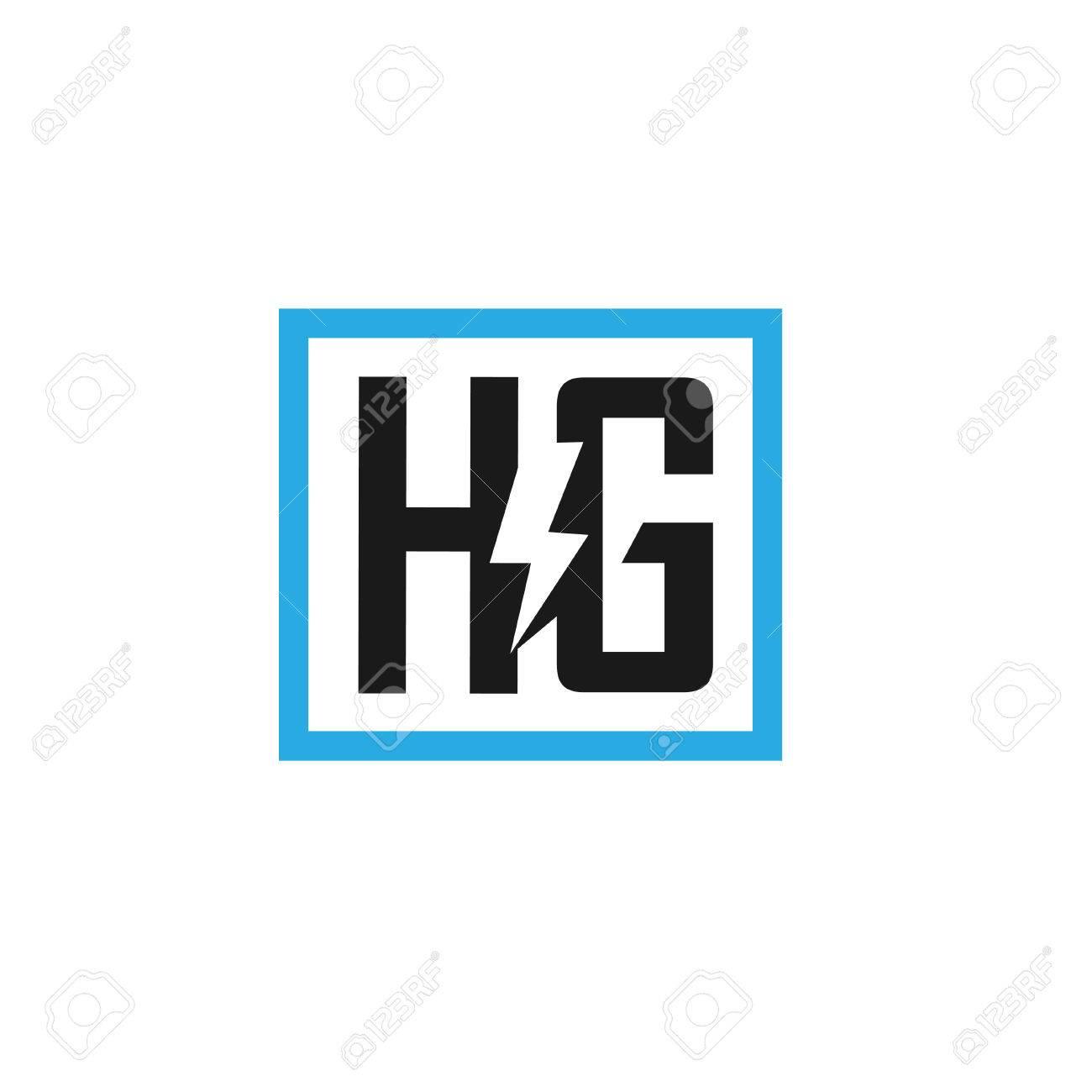 Foto de archivo - Letra HG diseño eléctrico plantilla de ilustración  vectorial, carta poder H vector logo, letra H y G vector logo, Carta  creativa carta HG