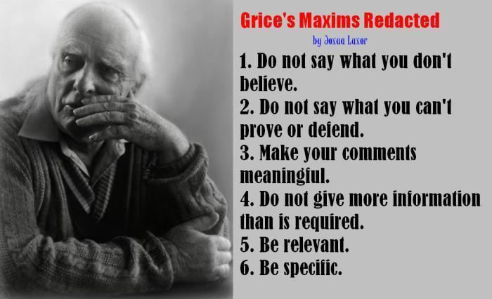 Paul Grice Grice39s Maxims Reduced RARE QUOTES