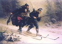 El cuadro muestra a los birkebeiner Torstein Skevla y Skjervald Skrukka  trasladando al pequeño Haakon a la ciudad de Nidaros en 1206.