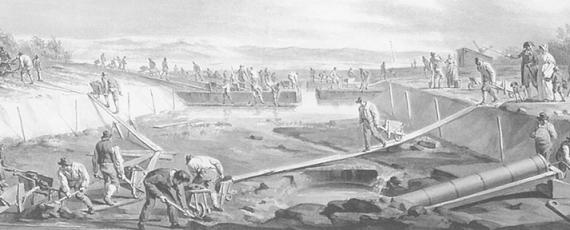 During the storms of 1836, water lapped against the city gates of Leiden  and Amsterdam. This led to the signing of the Haarlemmermeer Drainage Act  by King