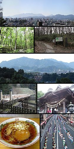 View of top left, Downtown Hachioji, Komiya Park, Naganuma Park, Mount Takao