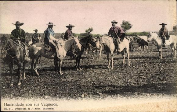 Postcard Chile, Haciendado con sus Vaqueros, Rinderhirten