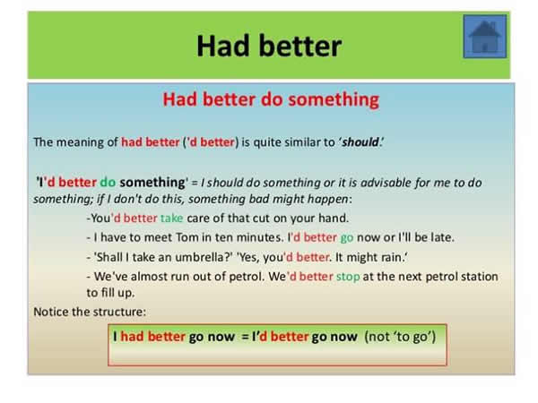 """Uses of """"Had Better Do Something"""" and """"Had Better Not Do Something"""""""